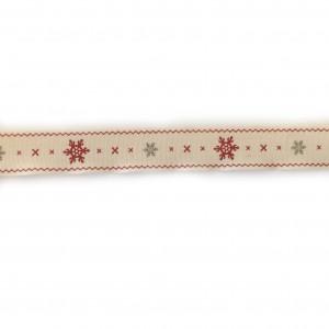 Ruban Noël rouge, gris et beige, largeur 17 mm