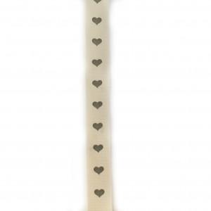 Ruban Beige à Coeurs gris  largeur 17 mm