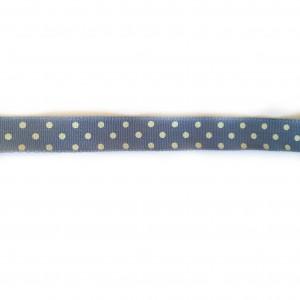Ruban Bleu à Pois beiges  largeur 17 mm