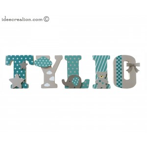 Lettres à poser, lettres prénom en Bois et tissu imprimé, prénom pour chambre d'enfant motifs vert turquoise et Taupe