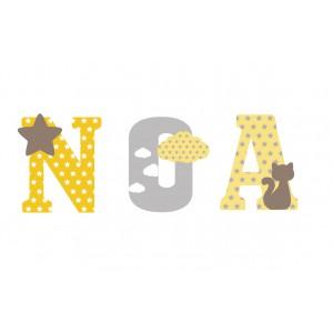 Lettres à poser, lettres prénom en Bois et tissu imprimé, prénom pour chambre d'enfant motifs jaune, gris et Taupe