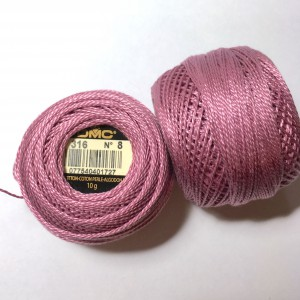 Fils DMC Coton perlé Art. 116 broderie Hardanger grosseur 8, rose 316