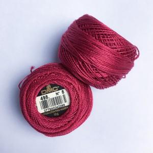 Fils DMC Coton perlé Art. 116 broderie Hardanger grosseur 8, rouge 498