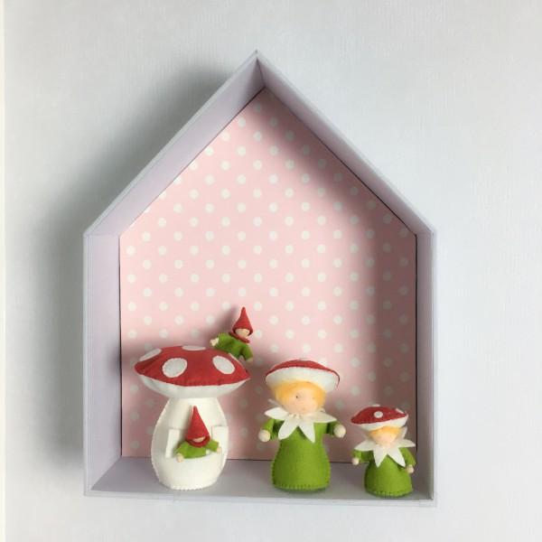 Etagère Maison En Carton Bois Recouvert De Tissu Imprimé Pour