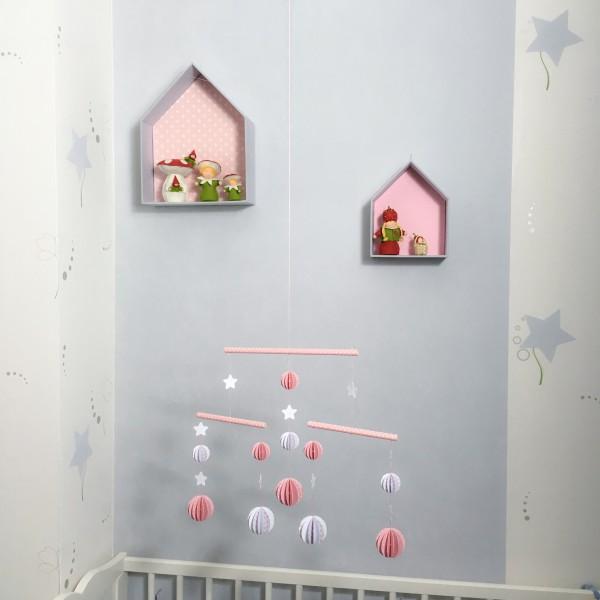 Etag re maison en carton bois recouvert de tissu imprim for Etagere chambre d enfant