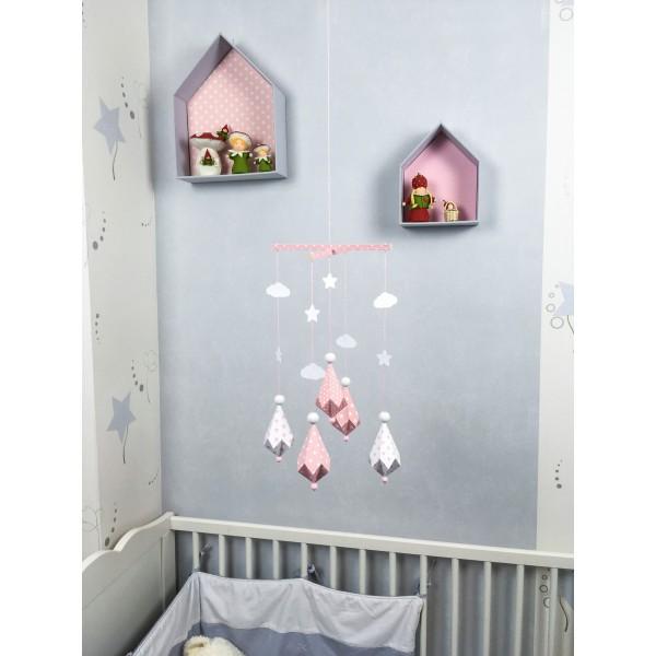 Mobile Bébé formes Origami Diamants en papier cartonné et bois pour ...