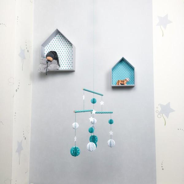 mobile b b boules en papier cartonn et bois pour chambre d 39 enfant mod le vert turquoise et. Black Bedroom Furniture Sets. Home Design Ideas