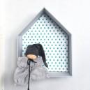 Etagère Maison en carton bois recouvert de tissu pour chambre d'enfant motifs : vert turquoise, gris et blanc, grand modèle