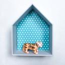 Etagère Maison en carton bois et tissu imprimé pour chambre d'enfant motifs : vert turquoise, gris et blanc, petit modèle