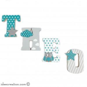 Lettres à poser, lettres prénom en Bois et tissu imprimé, prénom pour chambre d'enfant motifs : vert turquoise, blancs et gris