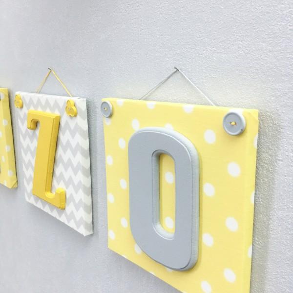 Bloc lettre pr nom en c ramique et tissu imprim pour chambre enfant mod le j - Lettre chambre enfant ...