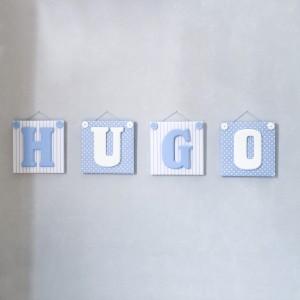 Bloc Lettre prénom en Céramique et tissu imprimé pour chambre enfant modèle Bleu et Blanc