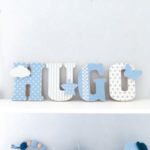 Lettres à poser en Bois et tissu imprimé, prénom pour chambre enfant modèle bleu et blanc