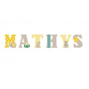 Lettres à poser, lettres prénom en Bois et tissu imprimé, prénom pour chambre enfant motifs jaune et taupe