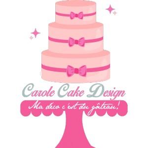"""Création logo """"Carole Cake Design"""" en bois peint sur plaque de 60 x 50 cm"""