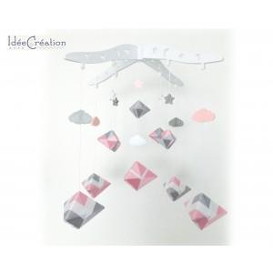 Mobile Bébé géométrique berlingot en fil coton pour chambre d'enfant, modèle rose, gris clair et blanc