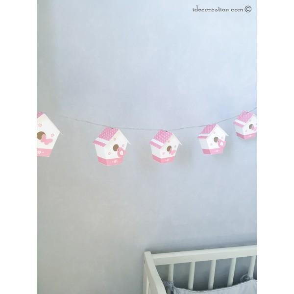 guirlande lumineuse nichoirs pour chambre de b b mod le maisons oiseaux en rose et blanc. Black Bedroom Furniture Sets. Home Design Ideas