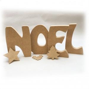 """Lot de 4 lettres à poser """"NOEL"""" en bois brut à peindre et décorer"""