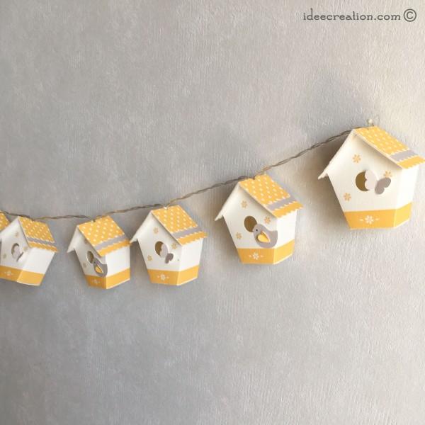 Guirlande lumineuse nichoirs pour chambre de b b mod le maisons oiseaux en jaune et gris - Chambre bebe gris et jaune ...