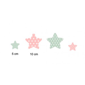 Etoiles en Bois et tissu imprimé pour chambre enfant modèle rose et vert, lot de 4