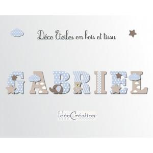 Lettres à poser, lettres prénom en Bois et tissu imprimé, prénom pour chambre enfant motifs Bleu ciel et Taupe