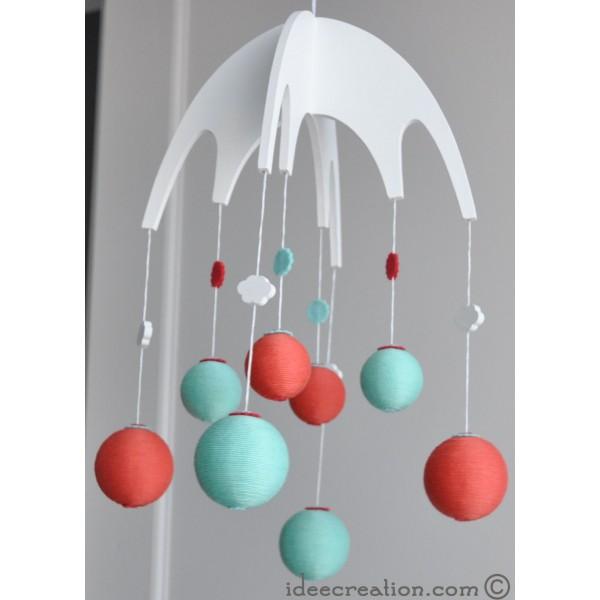 mobile b b en bois boule de coton et feutrine pour chambre d 39 enfant mod le vert orange et. Black Bedroom Furniture Sets. Home Design Ideas