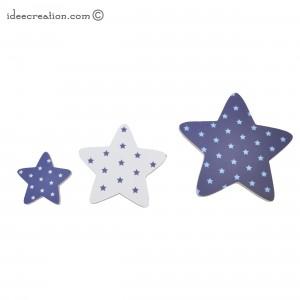 Etoiles en Bois et tissu imprimé pour chambre enfant modèle bleu marine et gris, lot de 3