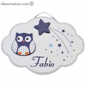 Cadre Prénom Hibou en bois et tissu pour chambre de bébé motifs bleu marine et gris