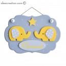 Cadre prénom Nuage déco Elephants Jaunes, en bois pour chambre de bébé