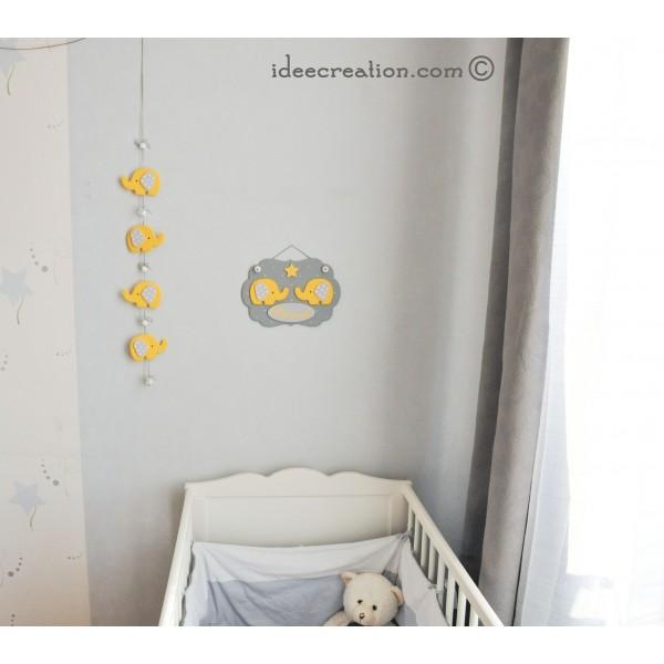 Cadre pr nom l phant en bois et guirlande pour chambre de for Guirlande pour chambre bebe
