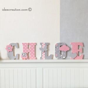 Lettres à poser, lettres prénom en Bois et tissu imprimé, prenom pour chambre de Fille motifs : roses, blancs et gris