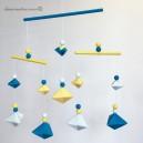 Mobile Bebe formes géométrique en bois et fil de coton pour chambre d'enfant, modèle Bleu canard et Jaune