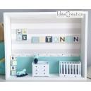 Cadre prénom bebe, vitrine miniature naissance, chambre bebe, modèle Marine, vert d'eau, gris et jaune