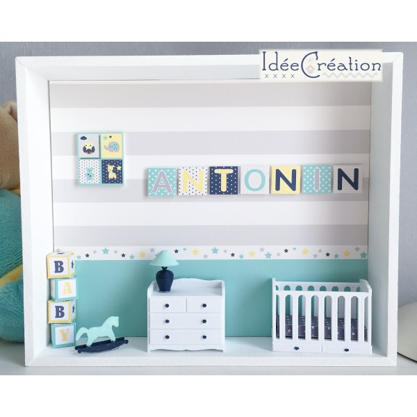 cadre pr nom bebe vitrine miniature naissance chambre. Black Bedroom Furniture Sets. Home Design Ideas