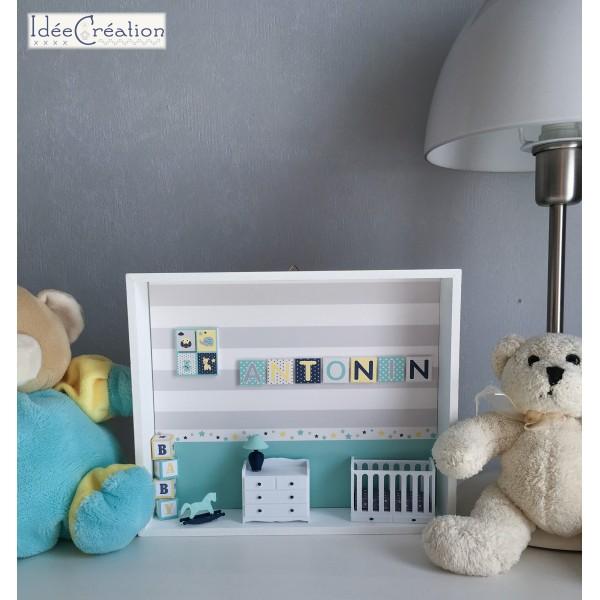 Cadre pr nom bebe vitrine miniature naissance chambre bebe mod le marine vert d 39 eau gris et - Chambre bebe vert et jaune ...