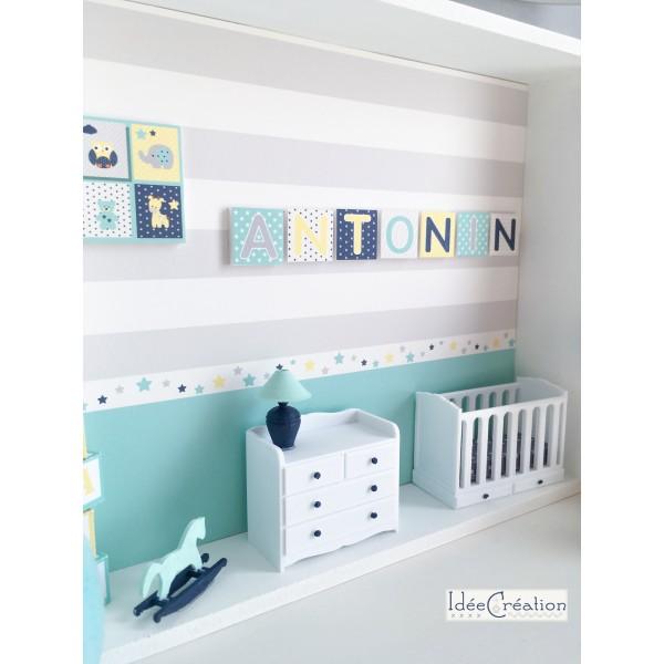 Cadre prénom bebe, vitrine miniature naissance, chambre bebe, modèle ...