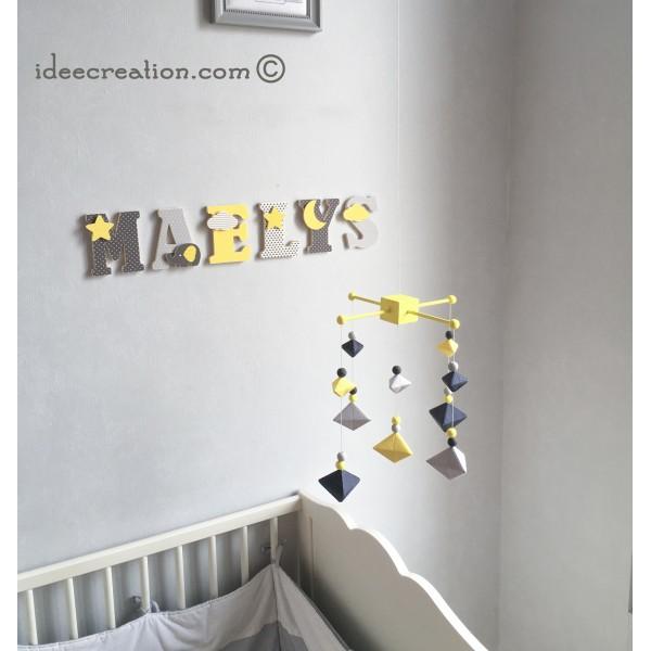 Mobile Bébé géométrique berlingot en bois et coton pour chambre d ...