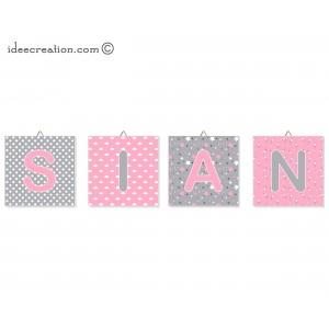 Cadre Lettre prénom de bébé, personnalisable en tissu imprimé pour chambre d'enfant modèle rose et gris