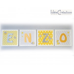 Lettre prénom de bébé, Cadre personnalisable en tissu imprimé pour chambre d'enfant modèle jaune et gris