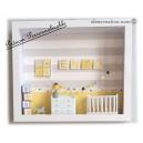 Cadre prénom bebe, vitrine miniature naissance, chambre bebe, modèle jaune et gris