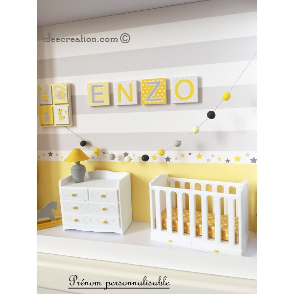 cadre pr nom bebe vitrine miniature naissance chambre bebe mod le jaune et gris id ecr ation. Black Bedroom Furniture Sets. Home Design Ideas