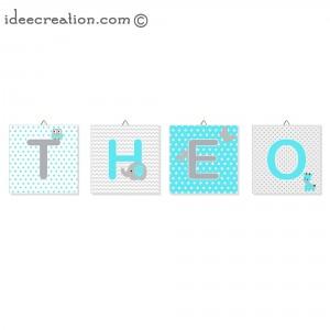 Lettre prénom de bébé, Cadre personnalisable en tissu imprimé pour chambre d'enfant modèle vert turquoise et gris