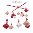 Mobile Bébé géométrique berlingot en bois et coton pour chambre d'enfant, modèle rose framboise, rose et blanc