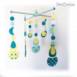 Mobile bébé, en polymère et bois, modèle Turquoise, jaune et Blanc