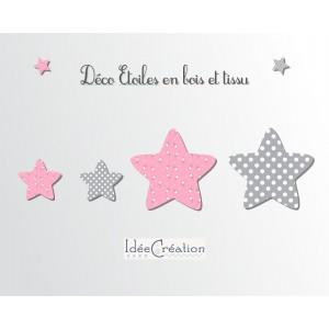 Etoiles en Bois et tissu imprimé pour chambre enfant modèle rose et gris, lot de 4
