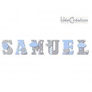 Lettres à poser, lettres prénom en Bois et tissu imprimé, prenom pour chambre d'enfant motifs : bleus, blancs et gris