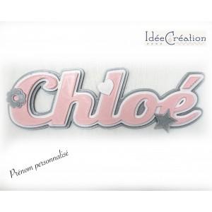 Lettres prénom de bébé,pour chambre d'enfant, modèle rose et gris