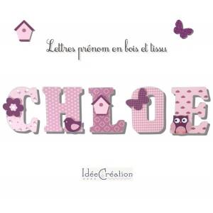 Lettres à poser, lettres prénom en Bois et tissu imprimé, prenom pour chambre de Fille motifs : roses, violet prune