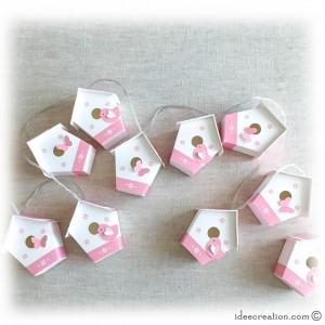 Nichoirs pour chambre de bébé, lot de 10, modèle Maisons Oiseaux en Rose et blanc