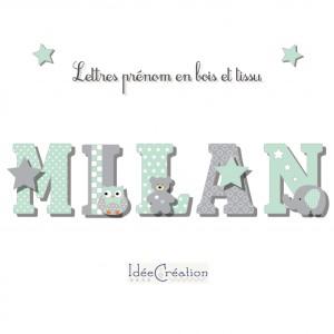 Lettres à poser, lettres prénom en Bois et tissu imprimé, prenom pour chambre de Fille motifs : vert menthe, blancs et gris